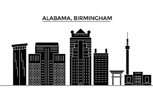 Usa, Alabama. Birmingham architecture vector city skyline, travel cityscape with landmarks, buildings, isolated sights on background