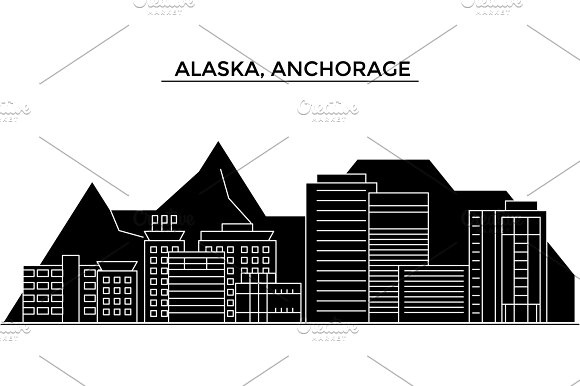 Usa Alaska Anchorage Architecture Vector City Skyline Travel Cityscape With Landmarks Buildings Isolated Sights On Background