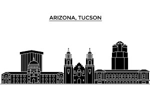 Usa, Arizona Tucson architecture vector city skyline, travel cityscape with landmarks, buildings, isolated sights on background