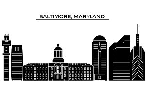 Usa, Baltimore, Maryland architecture vector city skyline, travel cityscape with landmarks, buildings, isolated sights on background