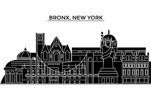 Usa, Bronx, New York architecture vector city skyline, travel cityscape with landmarks, buildings, isolated sights on background
