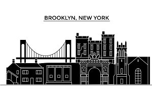 Usa, Brooklyn, New York architecture vector city skyline, travel cityscape with landmarks, buildings, isolated sights on background