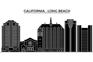 Usa, California  Long Beach architecture vector city skyline, travel cityscape with landmarks, buildings, isolated sights on background
