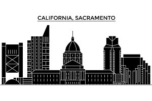 Usa, California  Sacramento architecture vector city skyline, travel cityscape with landmarks, buildings, isolated sights on background