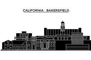 Usa, California , Bakersfield architecture vector city skyline, travel cityscape with landmarks, buildings, isolated sights on background