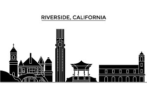 Usa, California , Riverside architecture vector city skyline, travel cityscape with landmarks, buildings, isolated sights on background