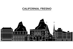 Usa, California Fresno architecture vector city skyline, travel cityscape with landmarks, buildings, isolated sights on background