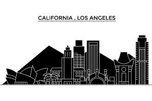 Usa, California Los Angeles architecture vector city skyline, travel cityscape with landmarks, buildings, isolated sights on background
