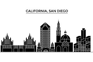 Usa, California San Diego architecture vector city skyline, travel cityscape with landmarks, buildings, isolated sights on background