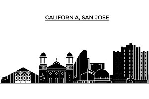 Usa, California San Jose architecture vector city skyline, travel cityscape with landmarks, buildings, isolated sights on background