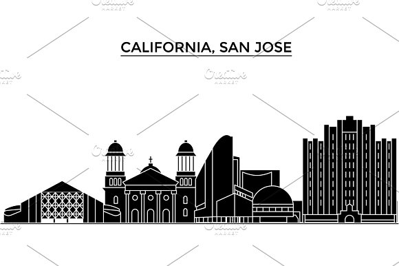 Usa California San Jose Architecture Vector City Skyline Travel Cityscape With Landmarks Buildings Isolated Sights On Background