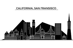 Usa, California, San Francisco architecture vector city skyline, travel cityscape with landmarks, buildings, isolated sights on background