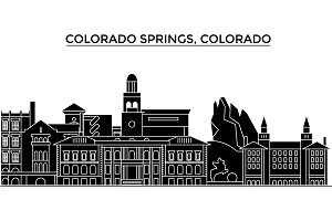 Usa, Colorado Springs architecture vector city skyline, travel cityscape with landmarks, buildings, isolated sights on background