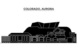 Usa, Colorado, Aurora architecture vector city skyline, travel cityscape with landmarks, buildings, isolated sights on background