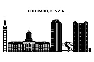 Usa, Colorado, Denver architecture vector city skyline, travel cityscape with landmarks, buildings, isolated sights on background