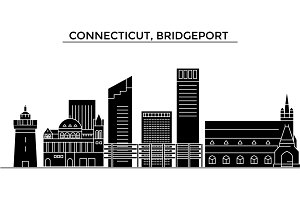 Usa, Connecticut, Bridgeport architecture vector city skyline, travel cityscape with landmarks, buildings, isolated sights on background