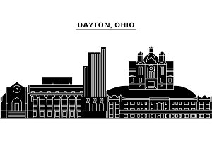 Usa, Dayton, Ohio architecture vector city skyline, travel cityscape with landmarks, buildings, isolated sights on background