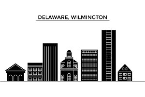 Usa, Delaware, Wilmington architecture vector city skyline, travel cityscape with landmarks, buildings, isolated sights on background