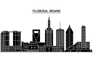 Usa, Florida Miami architecture vector city skyline, travel cityscape with landmarks, buildings, isolated sights on background