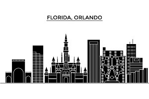 Usa, Florida Orlando architecture vector city skyline, travel cityscape with landmarks, buildings, isolated sights on background