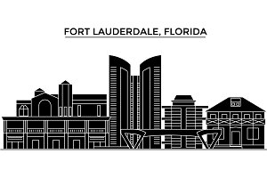 Usa, Fort Lauderdale, Florida architecture vector city skyline, travel cityscape with landmarks, buildings, isolated sights on background