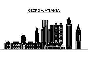 Usa, Georgia, Atlanta architecture vector city skyline, travel cityscape with landmarks, buildings, isolated sights on background