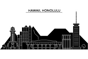 Usa, Hawaii, Honolulu architecture vector city skyline, travel cityscape with landmarks, buildings, isolated sights on background