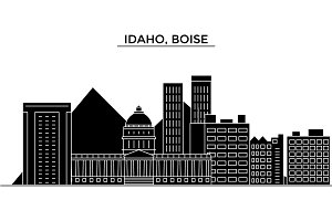 Usa, Idaho, Boise architecture vector city skyline, travel cityscape with landmarks, buildings, isolated sights on background