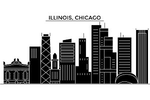 Usa, Illinois, Chicago architecture vector city skyline, travel cityscape with landmarks, buildings, isolated sights on background