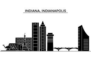Usa, Indiana, Indianapolis  architecture vector city skyline, travel cityscape with landmarks, buildings, isolated sights on background