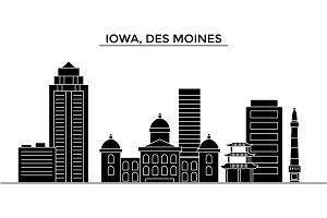 Usa, Iowa, Des Moines architecture vector city skyline, travel cityscape with landmarks, buildings, isolated sights on background
