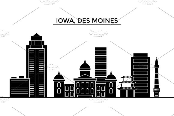 Usa Iowa Des Moines Architecture Vector City Skyline Travel Cityscape With Landmarks Buildings Isolated Sights On Background