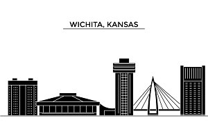 Usa, Kansas, Wichita architecture vector city skyline, travel cityscape with landmarks, buildings, isolated sights on background