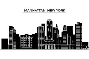 Usa, Manhattan, New York architecture vector city skyline, travel cityscape with landmarks, buildings, isolated sights on background