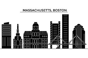 Usa, Massachusetts, Boston architecture vector city skyline, travel cityscape with landmarks, buildings, isolated sights on background