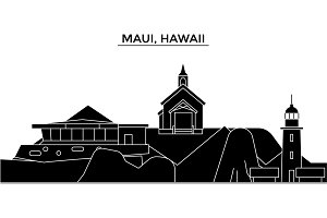 Usa, Maui, Hawaii architecture vector city skyline, travel cityscape with landmarks, buildings, isolated sights on background