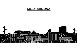 Usa, Mesa, Arizona architecture vector city skyline, travel cityscape with landmarks, buildings, isolated sights on background