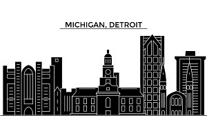 Usa, Michigan, Detroit architecture vector city skyline, travel cityscape with landmarks, buildings, isolated sights on background
