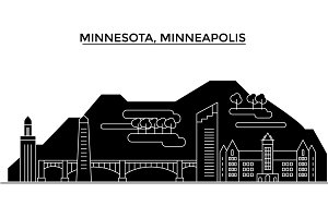 Usa, Minnesota, Minneapolis architecture vector city skyline, travel cityscape with landmarks, buildings, isolated sights on background