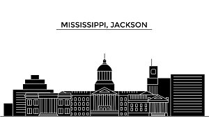 Usa, Mississippi, Jackson architecture vector city skyline, travel cityscape with landmarks, buildings, isolated sights on background