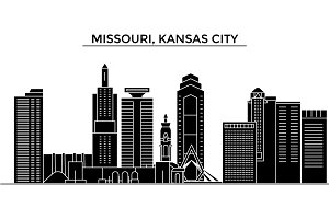 Usa, Missouri, Kansas City architecture vector city skyline, travel cityscape with landmarks, buildings, isolated sights on background