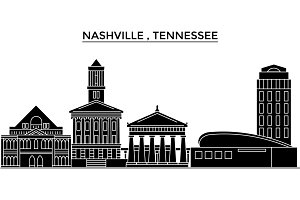 Usa, Nashville , Tennessee architecture vector city skyline, travel cityscape with landmarks, buildings, isolated sights on background