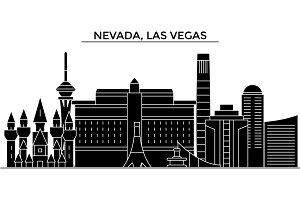 Usa, Nevada, Las Vegas architecture vector city skyline, travel cityscape with landmarks, buildings, isolated sights on background