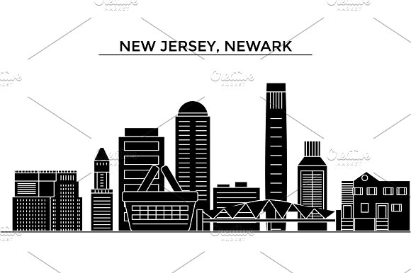 Usa New Jersey Newark Architecture Vector City Skyline Travel Cityscape With Landmarks Buildings Isolated Sights On Background