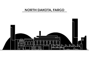 Usa, North Dakota, Fargo architecture vector city skyline, travel cityscape with landmarks, buildings, isolated sights on background