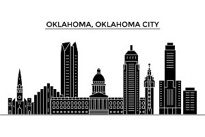 Usa, Oklahoma, Oklahoma City architecture vector city skyline, travel cityscape with landmarks, buildings, isolated sights on background