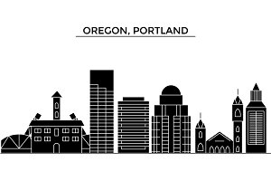 Usa, Oregon, Portland architecture vector city skyline, travel cityscape with landmarks, buildings, isolated sights on background