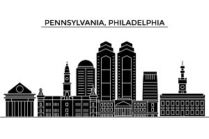 Usa, Pennsylvania, Philadelphia architecture vector city skyline, travel cityscape with landmarks, buildings, isolated sights on background