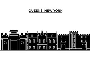 Usa, Queens, New York architecture vector city skyline, travel cityscape with landmarks, buildings, isolated sights on background