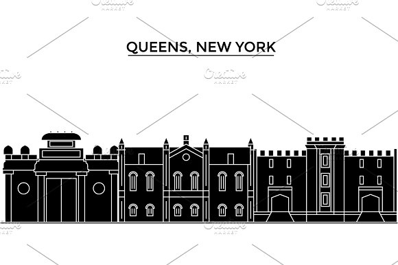 Usa Queens New York Architecture Vector City Skyline Travel Cityscape With Landmarks Buildings Isolated Sights On Background